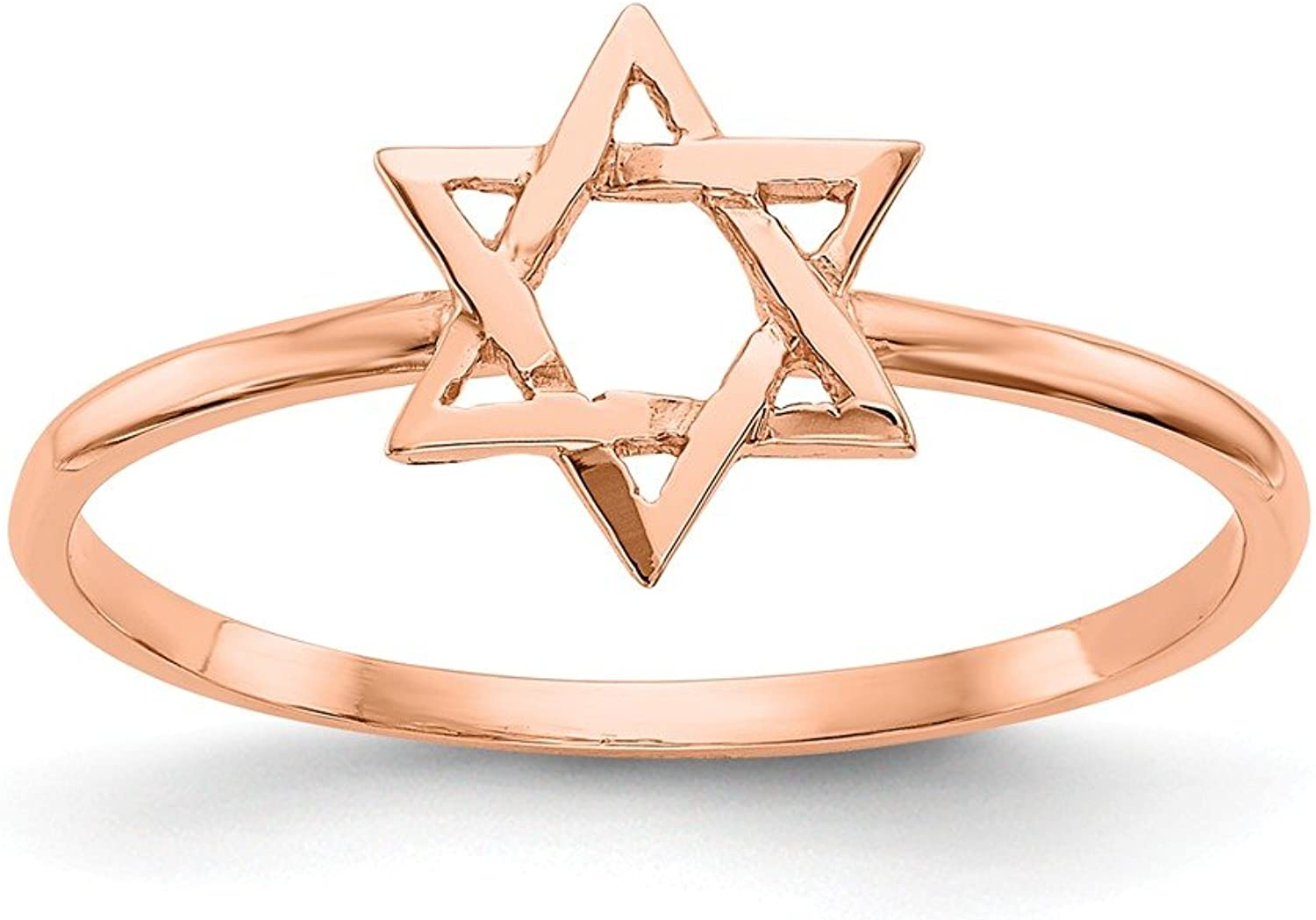 Beautiful pink gold 14K 14k pink gold Polished Star of David Ring