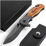 BERGKVIST K19 Klappmesser (Einhandmesser) mit Holzgriff & Titanium für Outdoor & Survival - 3-in-1...