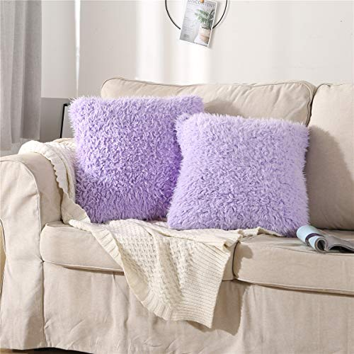 MooWoo Fluffy Faux Fur Pillowcase Standard Size Set of 2,Purple Furry Pillow Cases Decorative Throw Covers with Zipper, for Home Bedroom Living Room Couch Sofa (Purple)