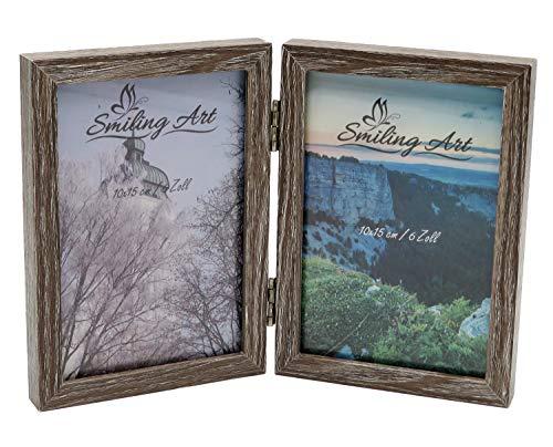 Smiling Art Bilderrahmen für 2 Fotos aus MDF Holz mit Glasscheibe, klappbarer Bilderrahmen, Doppelrahmen (Grau, 2x10x15 cm)