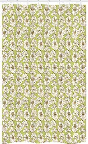 ABAKUHAUS Mohn Schmaler Duschvorhang, Vintage blühende Blume, Badezimmer Deko Set aus Stoff mit Haken, 120 x 180 cm, Eierschalenfarben Braun & Khaki