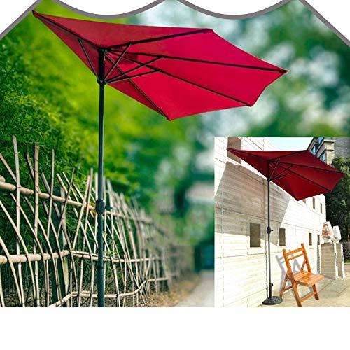Vicareer Halbschirm Im Freien 3m Sonnenschutz UV Halbrund Sonnenschirm Mit Kurbel,Wasserdichter Polyesterfaser-Balkonschirm,für Garten Marktschirm,Halbrunder Wand-Sonnenschirm- Rot