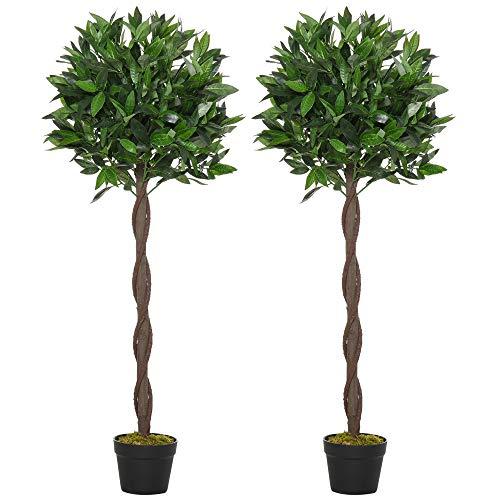 Outsunny Set di 2 Alberi di Alloro in Vaso, Piante Finte in Plastica Altezza 120cm per Interni ed Esterni