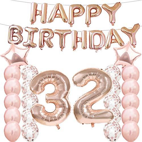 Decorazioni per Il 32° Compleanno, Palloncini Oro Rosa, Numero 32, in Mylar, Palloncini in Lattice, Ideali Come Regalo per Il 32° Compleanno per Ragazze, Accessori fotografici.