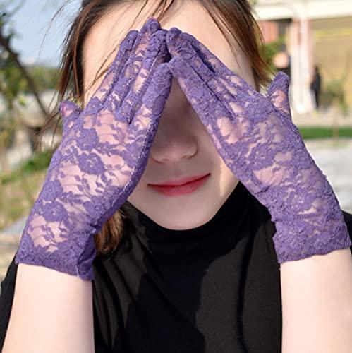 Modis Guantes al aire libre de las mujeres al aire libre ahueca hacia fuera a prueba de UV pantalla pantalla pantalla fiesta hogar encaje guantes respirables