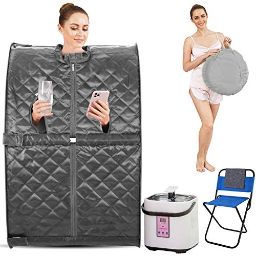 HIMIMI 2L Foldable Steam Sauna Portable Indoor Home Spa Relaxation at Home, 60 Minute Timer with Chair Remote (Triangle, Gray)