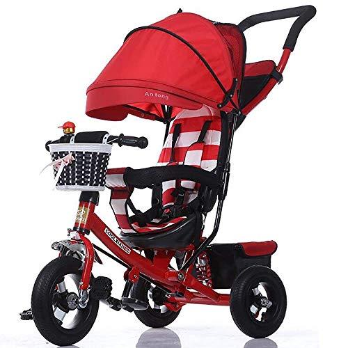 NUBAO Trike Baby Trike - Triciclo plegable de 3 ruedas, máximo 4 en 1, para niños de 6 meses a 5 años, peso de 30 kg (color: rojo) triciclos para niños de 1 a 3 años