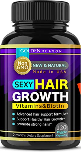 Sexy Hair Growth. Advanced Anti Hair Loss Vitamins. New & Powerful Formula to Promote Longer, Stronger Hair. Non GMO.120 Capsules. Made in USA