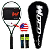 "WOED Adult Tennis Racket Perfect for Beginner and Professional Players, 27"" Speed Tennis Racquet Include 2 Overgrips, Tennis Bag, Vibration Dampe, Cover (Line-Black-Green)"