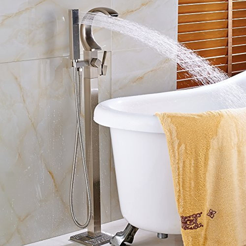 Schwarz am Boden befestigte Badewanne Mischer Wanne Waschbecken Mischbatterie Einhebel Wasserfall Auswurfkrümmer Clawfoot Faucet Tippen mit Handdusche