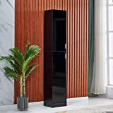4HOMART Tall Cabinet Storage Cabinet Floor Standing Storage Unit High Gloss Front with 2 Doors for Home Bathroom Living Room Bedroom Use