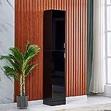 QIHANG-UK Narrow Floor Standing Cupboard Organiser, High Gloss Wood Slim Storage Unit with 2 Doors 4 Shelves, Tallboy Corner Shelving Cabinet for Living Room Bedroom Bathroom Office, Black