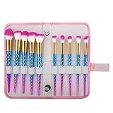 Make-up Pinsel Set Lidschatten Foundation Rouge Pinsel mit Aufbewahrungstasche 10St