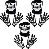 Weiße Skelett Handschuhe und Schädel Gesichtsmaske Geist Knochen für Erwachsene Halloween Tanzen Kostüm Party (3 Set)