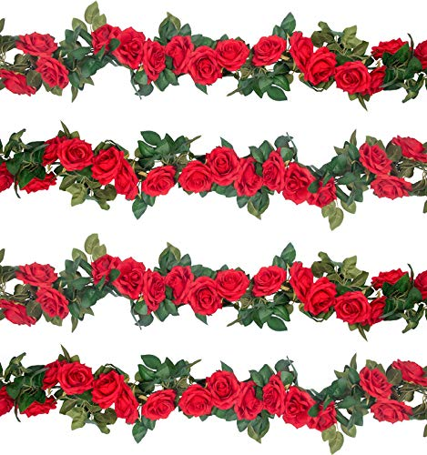 SHACOS 3pcs Artificial Rose Garland Vines Fake Silk Flowers Vine Red Rose Garlands Hanging Roses Plants for Wedding Home Garden Decoration (9 Flowers)