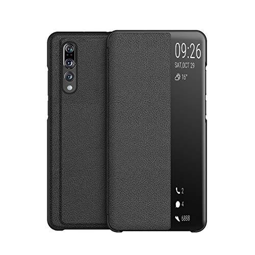 KANSI Compatible con Huawei P20 Pro Funda, Smart View Flip Funda de Cuero + Cristal Templado - Negro