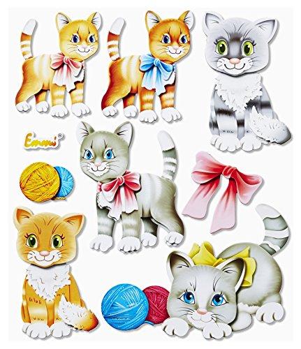 Stickerkoenig 3D Sticker XXL Wandtattoo Kinderzimmer Wandsticker - supersüße Katzen Kätzchen Set