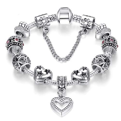 Fashion Silver Color Heart Ch Bracelet Bangle For Women DIY Crystal Beads Fit Original Bracelets Women Jewelry-Ps3738,18Cm