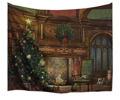 A.Monamour Wanddekor Wandbild Vorhang Wandteppiche Weihnachten Urlaub Thema Innenraum Dekoration Kamin Weihnachten...