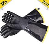 ASHLEYRIVER BBQ Grill Insulated Waterproof/Oil Heat Resistant Neoprene Coating Gloves for...