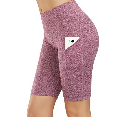 HMIYA Damen Fitness Shorts Sport Leggings Yoga Sporthose Kurze Yogahose Workout Tights Hohe Taille mit Taschen(1/2 Shorts-Grau Lila,S)