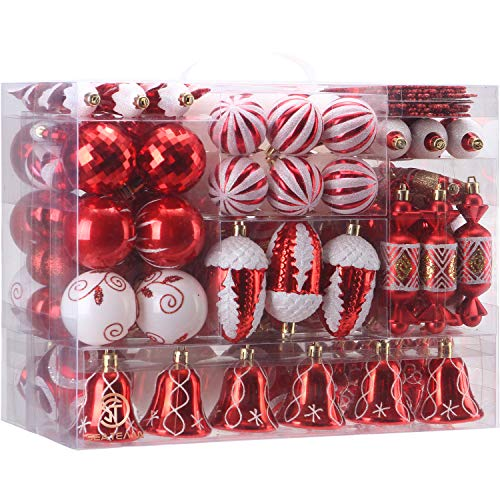 Sea Team 155-Pack Assorted Shatterproof Christmas Ball Ornaments Set Decorative Baubles Pendants with Reusable Hand-held Gift Package for Xmas Tree (Red, 155)