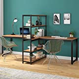 Tribesigns Two Person Computer Desk with Bookshelf, 90 Inches Double Face-Face Workstation Desk with Storage Shelf for Two Person, Extra Large Writing Office Desk for Home Office