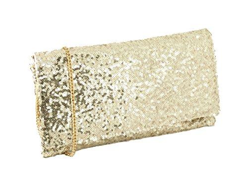 LONI Sparkly - Bolso de mano de fiesta con tira para hombro - dorado