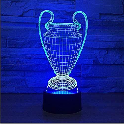 LED Nacht Licht Voetbal Beker Trofee 3D Licht 7 Kleuren Verander LED Nachtlampje Touch Knop USB Slaapkamer Vriend Geschenk