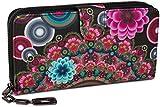 styleBREAKER portefeuille à motifs de fleurs ethniques differents, dessin vintage, fermeture à glissière toute autour, femmes 02040040, couleur:Noir-rouge-rose