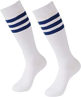 Soccer Socks, SUTTOS Unisex Cotton Knee High Triple Stripe Football Team Socks Athletic Tube Sock 2-10 Pairs