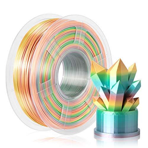 SUNLU Shiny Silk Rainbow Filament, Multicolor Gradient PLA+ Filament 1.75mm, 3D Filament for 3D Printer & 3D Pen, 1kg(2.2lbs) Shiny Silk Rinbow Ⅱ