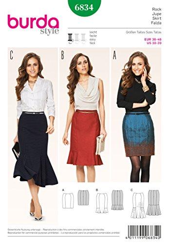 Burda B6834, Falda para Mujer, 36-46 EU