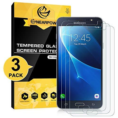 NEARPOW [3 Stück Panzerglas Bildschirmschutzfolie für Samsung Galaxy J7 2016, Schutzfolie 9H Festigkeit, Anti-Kratzen, Anti-Öl, Anti-Bläschen, Anti-Fingerabdruck