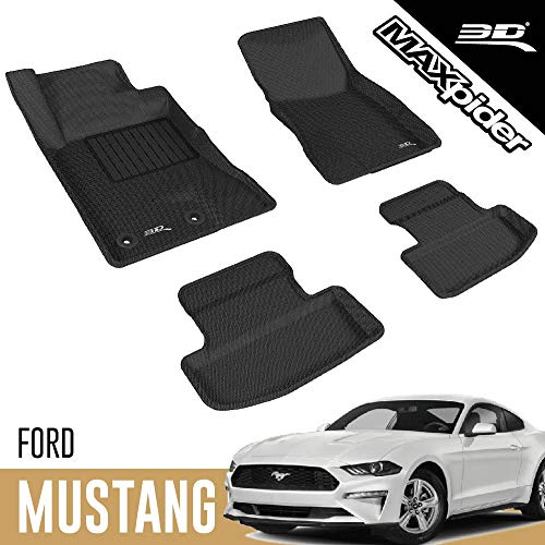 3D MAXpider - L1FR08501509 Ford Mustang 2015-2020 Custom Fit All-Weather Car Floor Mats Liners, Kagu Series (1st & 2nd Row, Black)