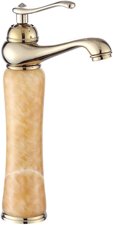 Faucet Bathroom,European Style golden Jade Counter Basin Faucet, Hot And Cold Copper Body Faucet, Antique Above Counter Basin Faucet