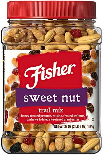 Fisher Snack Trail Mix 38 oz Honey Roasted Peanuts Raisins Frosted Walnuts Cashews Dried Sweetened product image