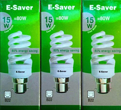 Kompaktleuchtstofflampen/Energiesparlampen, 3/5/10Stück, 15W = 80Watt, Kühlweiß, Vollspirale, Bajonettsockel BC B22d ., cool white, B22d 15.00 wattsW 240.00 voltsV