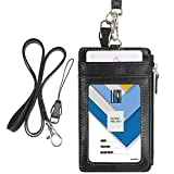 Badge Holder with Zipper, Wisdompro School Supply 2-Sided PU Leather College ID Badge Holder with 1 ID Window, 4 Card Holder Slots, 1 Side Pocket and 20 Inch Leather Neck Strap Lanyard -Vertical Black