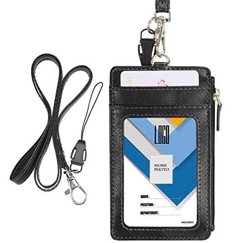 Wisdompro porta badge, verticale, in pelle PU, con 1 scomparto trasparente, 4 scomparti per tessere, 1 tasca laterale con cerniera e 1 cordoncino da appendere al collo in PU da 51 cm Black