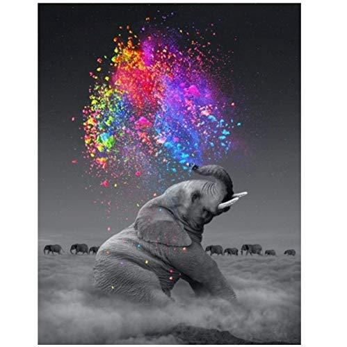 Bzdmly Fantasy Elephant Wall Art Poster Animal Print su Tela Wall Pop Art Immagini Decorative per Soggiorno Deco 20x30cm / 7.8'x11.8 Senza Cornice