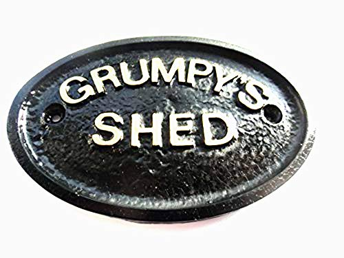 Artisan GRUMPY'S SHED WORKSHOP DOOR PLAQUE BLACK WITH GOLD RAISED LETTERING
