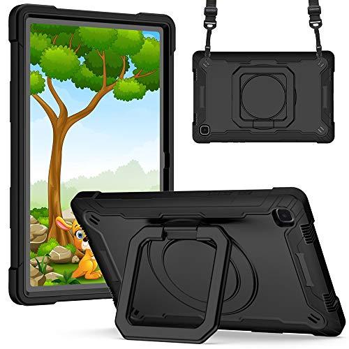 Xuanbeier Funda para Samsung Galaxy Tab A7 10,4 Pulgadas SM-T500/T505 Resistente a Los Golpes,Cubierta Blindada con Soporte Giratorio de 360° y Correa de Muñeca Ajustable,Negro