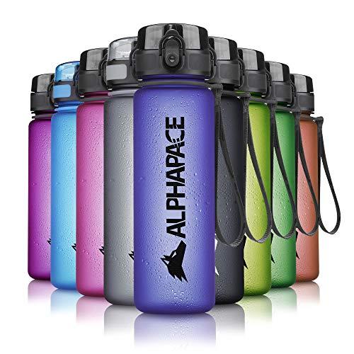 ALPHAPACE Trinkflasche, auslaufsichere 500 ml Wasserflasche, BPA-freie Flasche für Sport, Fahrrad & Outdooraktivitäten, Sportflasche mit Fruchteinsatz, in Dark-Blue
