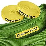 100 Etiquetas Personalizadas con Nombre e Icono para marcar la ropa. Etiquetas de tela Amarilla termoadhesiva para planchar en camisetas, pantalones, abrigos y todo tipo de prendas de niños.