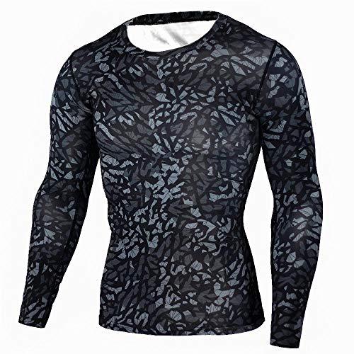 rgbh Hombre Compresión Camisa Base Layers Tops Manga Larga Shirt Transpirable Secado Rápido Sudadera for Fitness Running Cycling 3-XX-Large