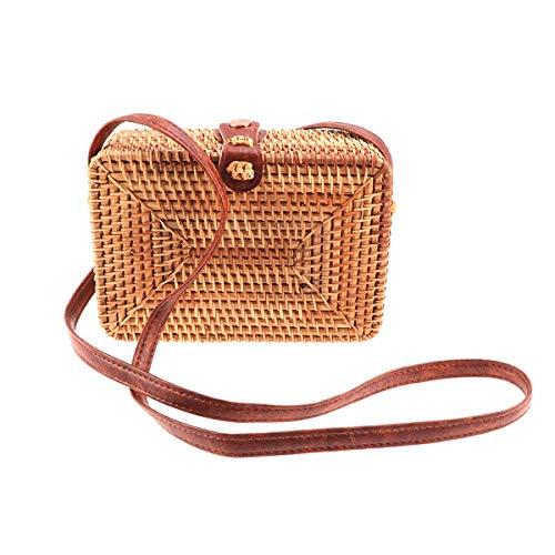 Mochila para mujer redonda bolsa de paja de mimbre Moda informal artesanía tejida a mano bolsa de ratán Cuadrada Mini hombro bolsa de mensajero diagonal