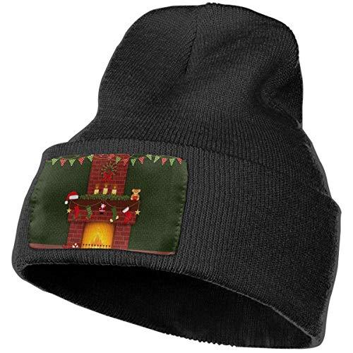 LinUpdate-Store Weihnachtskamin Beanie Hut Männer & Frauen Plain Cuff Streetwear Skull Beanie