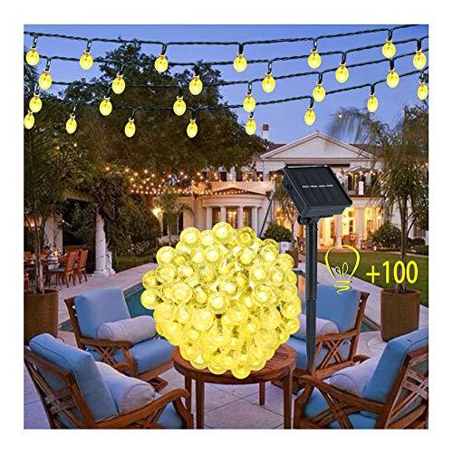 Guirnalda Luces Exterior Solar -  100 LED 12M Cadena de Bola Cristal Luz, Guirnalda Solar Bola de Cristal Luces Decoracion Solar Bola para Navidad Terraza Hogar Jardín Arboles Patio Bodas(Blanco cálido)