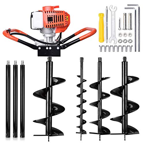 """72CC Auger Post Hole Digger, 3KW 2 Stroke Post Hole Auger Gas Powered with 3 Auger Drill Bits(4"""" & 8"""" & 12"""") + 3 Extension Rods for Farm Garden Plant"""
